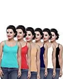 Civis Women's Cotton Camisole with Adjustable Strap - White , Red, Dark Blue, Black, Beige, Peacock (Pack of 6, 90)