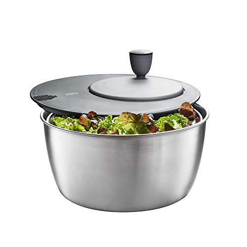 Gefu Salatschleuder Rotare, 3-TLG, Salattrockner, Salatschüssel, Salat Schüssel, Edelstahl, Kunststoff, Ø 25 cm, 28180