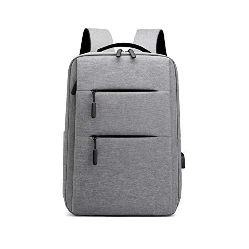 Mochila para portátil para Hombre con Puerto de Carga USB y Auriculares, o portátil para la Escuela / Trabajo / Viajes-Gris