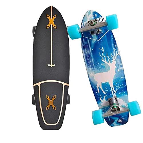 8 Capas de Madera de Arce Skateboards Completa Cruiser Monopatin para adultos Carving surfskate para Principiantes con Rodamientos ABEC-11 CX4 Pumpping Longboard Deck para niños niñas adolescentes