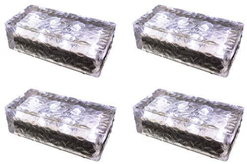 4 pezzi FUCHS Mattonella Solare LED Vetro bianco freddo 19,6x9,6x6 cm – per l\'illuminazione del percorso (antiscivolo)