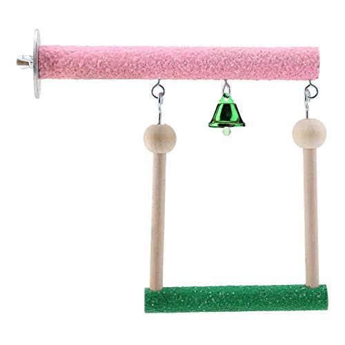 Vogel speelgoed, hout kleurrijke zitstok intelligente staande schommel voor papegaaien valkparkiet (S)