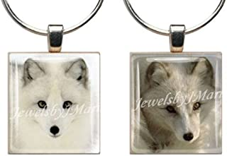 ARCTIC FOX ~ Scrabble Tile Wine Glass Charms ~ Set of 2 ~ Stemware Charms/Markers/Pendants
