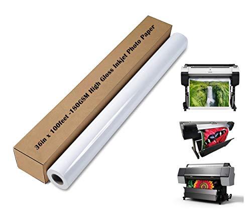 """SPEEDYORDERS Photo Paper Printing Paper Roll, RC High Gloss Photo Paper 36"""" x 100 feet 180gsm Photo Printer Paper Roll, Glossy White Paper, Poster Paper, Paper Inkjet Printer"""