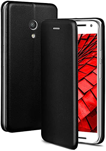ONEFLOW Handyhülle kompatibel mit Motorola Moto G2 - Hülle klappbar, Handytasche mit Kartenfach, Flip Hülle Call Funktion, Leder Optik Klapphülle mit Silikon Bumper, Schwarz