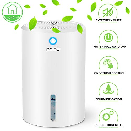 PAIPU Dehumidifier - 900ML Portable Small Dehumidifiers electric for Home Bathroom Bedroom Basement Closet RV Camper Garage,Anti-Overflow Electric Mini Dehumidifier for Space Up to 431 Sq.ft.