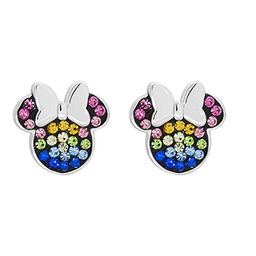 Disney Minnie Mouse Sterling Silver Rainbow Crystal Stud Earrings
