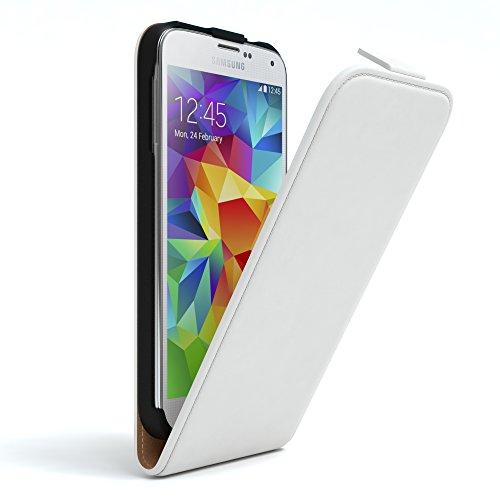 EAZY CASE Hülle kompatibel mit Samsung Galaxy S5/LTE+/Duos/Neo Hülle Flip Cover zum Aufklappen, Handyhülle aufklappbar, Schutzhülle, Flipcase, Flipstyle Case vertikal klappbar, Kunstleder, Weiß