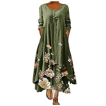 BATKKM Bohemian Dresses for Women,Long Sleeve Crew Neck Floral Print Dress Irregular Loose Cotton Linen Long Dresses Cotton Blend,A-Army Green