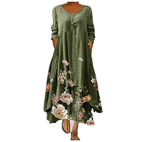 Vestido de lino para mujer, holgado, tallas grandes, vestido de verano, informal, boho, largo, vestido de verano para mujer, estilo retro, estampado, camiseta de algodón y lino informal D-01 S