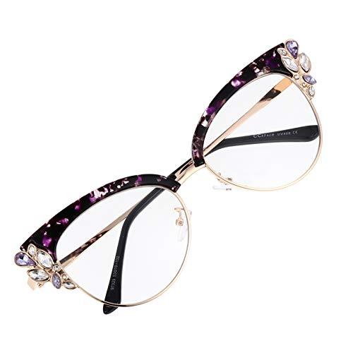 HEALLILY Gafas Ópticas para Prevenir La Luz Azul para Lectura de Juegos Gafas Decorativas para Fiestas (Púrpura)