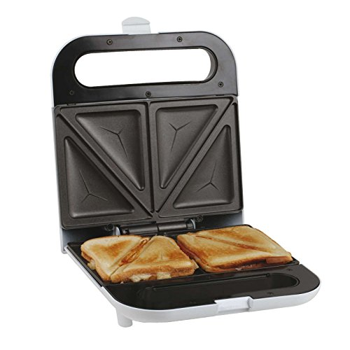 Sandwich-Toaster 700 Watt Sandwichmaker Antihaft-Beschichtung Automatisches Thermostat (Überhitzungsschutz, Verschließbarer Griff, Kontrollleuchte, Weiß)