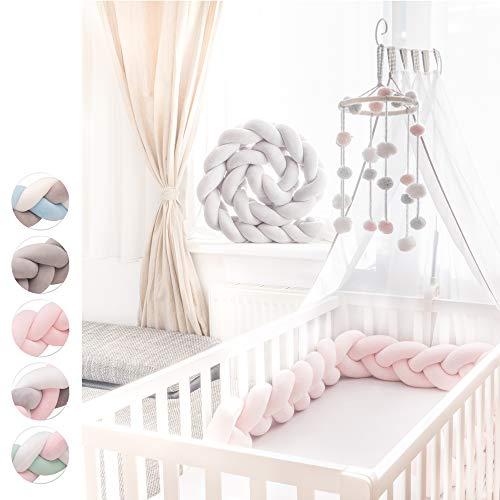 KINDNEST Bettumrandung Lavendel SET Kinderbett Baby Nestchen 3m Krippe Weben Geflochten Stoßfänger Kopfschutz Bettausstattung Dekoration für Babybett Babywiege (Pink, 3m)