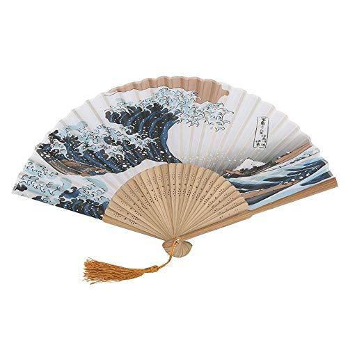 HEEPDD Abanico Plegable, Elegante Estilo japonés Ondas pintadas Ventilador de Mano Plegable...