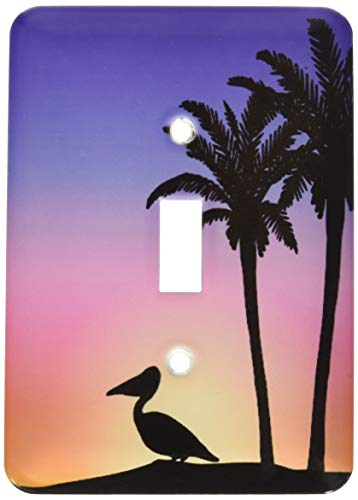 1-Gang Wall Plate Cover Decorator Wall Switch Light Plate Double Receptacle Outlet Tropical Palm Trees And Pelican Bird Silhouette At Colorful Sunset Classic Beadboard Unbreakable Faceplate