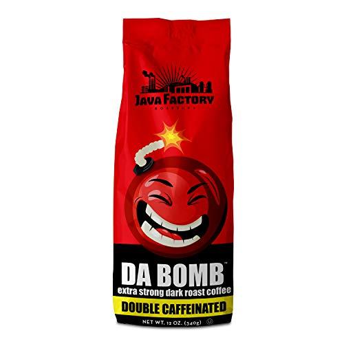 Java Factory High Caffeine Ground Coffee Double Caffeinated Da Bomb Bag, Dark Roast, 12 Ounce