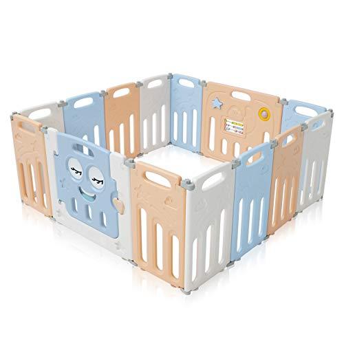 Baby Vivo Laufgitter Laufstall Faltbar Baby Absperrgitter Krabbelgitter Schutzgitter für Kinder aus Kunststoff mit Tür und Spielzeug 14 Elemente in Blau und Beige - Luna