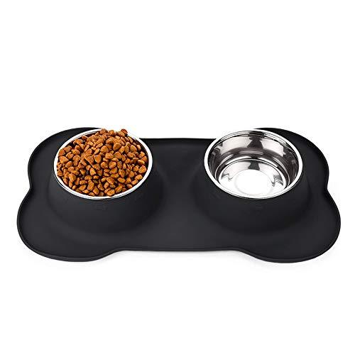 RedLemon Plato para Perro con 2 Tazones Desmontables de Acero Inoxidable de 750 ml, con Tapete de…