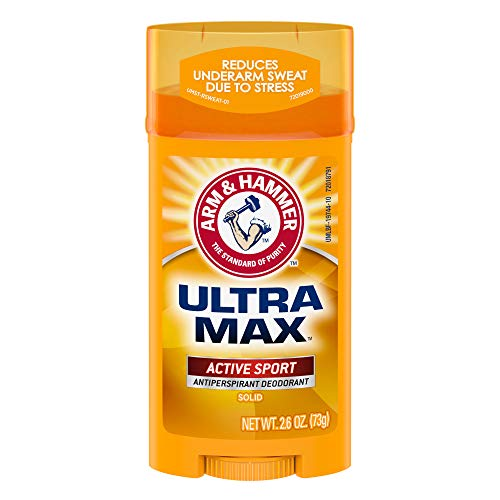 ARM & HAMMER Ultra MAX Deodorant- Active Sport- Solid Stick - 2.6oz- Made with Natural Deodorizers (Pack of 6)