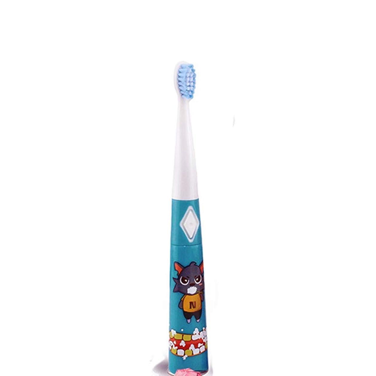 である石化するバッテリー耐久性のある子供用電動歯ブラシ防水ソフトヘア歯ブラシ 完璧な旅の道連れ (色 : 青, サイズ : Free size)