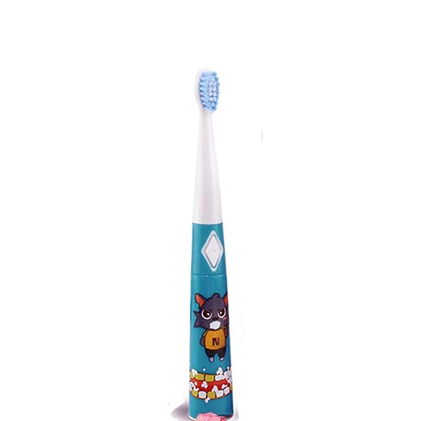 無声でトリプル構成耐久性のある子供用電動歯ブラシ防水ソフトヘア歯ブラシ 完璧な旅の道連れ (色 : 青, サイズ : Free size)