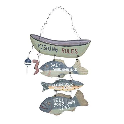 Wood Fishing Rules Sign - Fish Boat Nautical Decor New Approximately 8 X 14