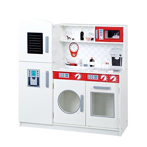 roba Spielküche, große Holz Kinderküche weiß, rot, Spielzeug-Küchenzeile mit Kühlschrank, Tafel, Herd, Mikrowelle, Spüle, Wasserhahn