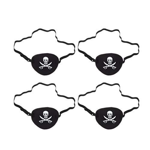 Toyvian 4 Piezas Pirata Parche en El Ojo Calavera con Cuchillo Un Ojo Calavera Caribeña Máscara de Ojo Único Pirata Disfraz Accesorios para Hombres Cosplay Mujeres