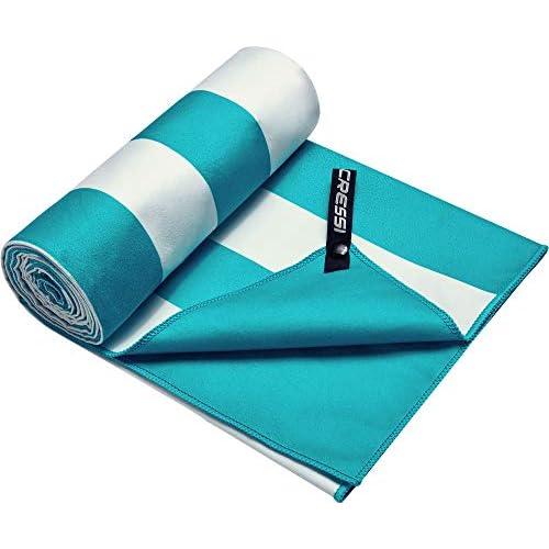 Cressi Fast Drying, Asciugamano/Telo Sportivo in Microfibra, Vari Colori e Misure Unisex Adulto, Stripe Turchese, 90 x 180 cm