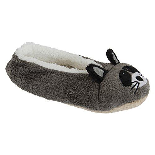Slumberzzz Damen Fluffy Tier Hausschuhe (40/41 EU) (Waschbär)