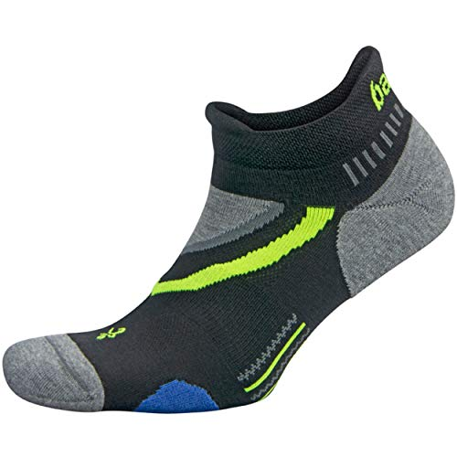 Balega UltraGlide Friction-Free No-Show Running Socks for Men and Women (1 Pair), Black/Charcoal, Medium