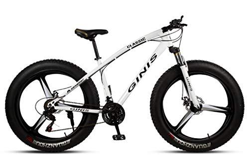 Qj Bicicletas De Montaña, 26 Pulgadas Marco De Acero De Carbono De Alta Fat Tire Mountain Trail Bicicletas, Bicicletas De Montaña para con Doble Freno De Disco,Blanco,30Speed