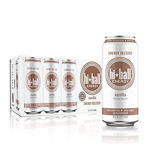 Hiball Energy Vanilla Seltzer Drink, Zero Sugar and Calorie, 16 Fl Oz Cans, 8 Count