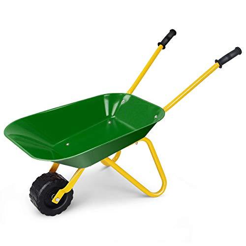 Heize best price Green Kids Metal Wheelbarrow Children's Size Outdoor Garden Backyard Play Toy