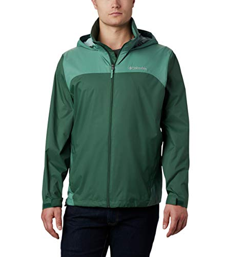 Columbia Men's Glennaker Lake Front-Zip Jacket with Hideaway Hood, rain Forest/Thyme Green, Large