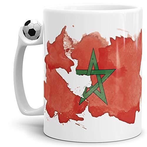 Tassendruck Flaggen-Tasse Marokko Fussball-Tasse - Fahne/Länderfarbe/Wasserfarbe/Aquarell/Cup/Tor/Qualität Made in Germany
