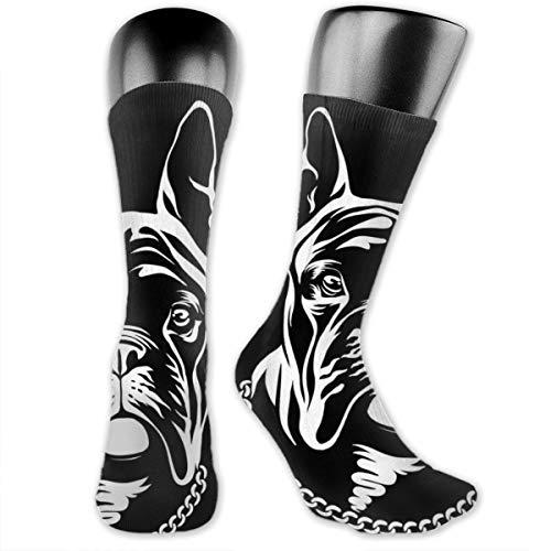 Wfispiy Hübsche schwarze französische Bulldogge-Logo-Reihe herein über den Kalb-Socken-Kompressions-Socken für Männer u. Frauen