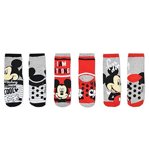French Market Calcetines antideslizantes para niño - Mickey, La Pat Patrulla Spiderman, Avengers, Pack de 3 Mickey 624, 31-34 cm