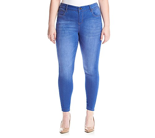 Celebrity Pink Jeans Women's Plus Size Infinite Stretch Mid Rise Skinny Jeans, Blue Lagoon Wash, 24W