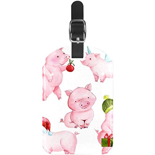Luggage Tags Cute Pink Piggy Leather Travel Suitcase Labels 1 Packs