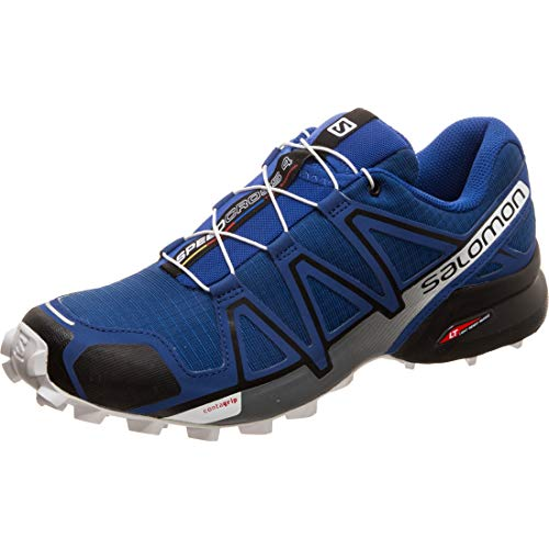SALOMON Speedcross 4 Trail Running Shoe - Men's Mazarine Blue Wil/Black/White, US 12.0/UK 11.5