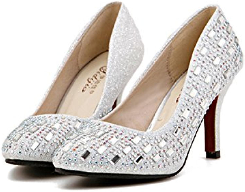 Xue Qiqi Hochhackige Schuhe mit hohen Absätzen_feine Spitze im Licht der high-heel Schuhe Nachtclub rot B07D7B661J  Sport