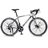 M-YN 14 Velocidades Bicicleta De Carretera 700c Ruedas Bicicleta De Carretera Dual Dual Disco Bicicletas(Color:Blanco)