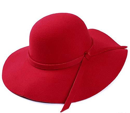 Pamelas Mujer Señora Plegable Vintage Amplio Gorro De Fieltro De Lana Grande Verano Beachtravel Floppy Sun Hat-Rojo_Un Tamaño