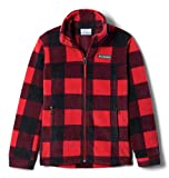 Columbia Boys' Little Zing III Fleece Jacket, Mountain Red Check (B) Print, Small