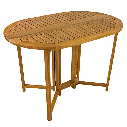Klapptisch Gartentisch klappbar oval 110 x 70 Akazie Holz FSC Balkontisch Tisch