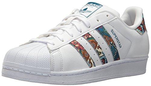 adidas Originals Superstar, Zapatillas Mujer, Blanco y Verde Azulado, 42 2/3 EU