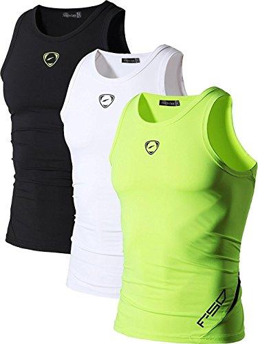 jeansian Herren Sportswear 3 Packs Sport Quick Dry Compression Tank Tops Vests Shirt LSL3306 PackD L
