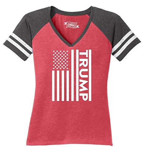 Ladies Game V-Neck Tee Trump American Flag Heathered Red/Heathered Charcoal M