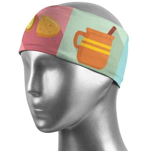 Verctor Sportschweißband Mexikanisches Essen Icon Set Flat Style Sportschweißband Stirnband Workout Haarband